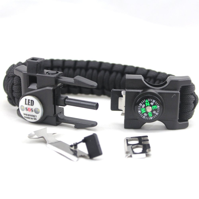 Survival Bracelet SOS LED-Licht Notfall Armband in schwarz